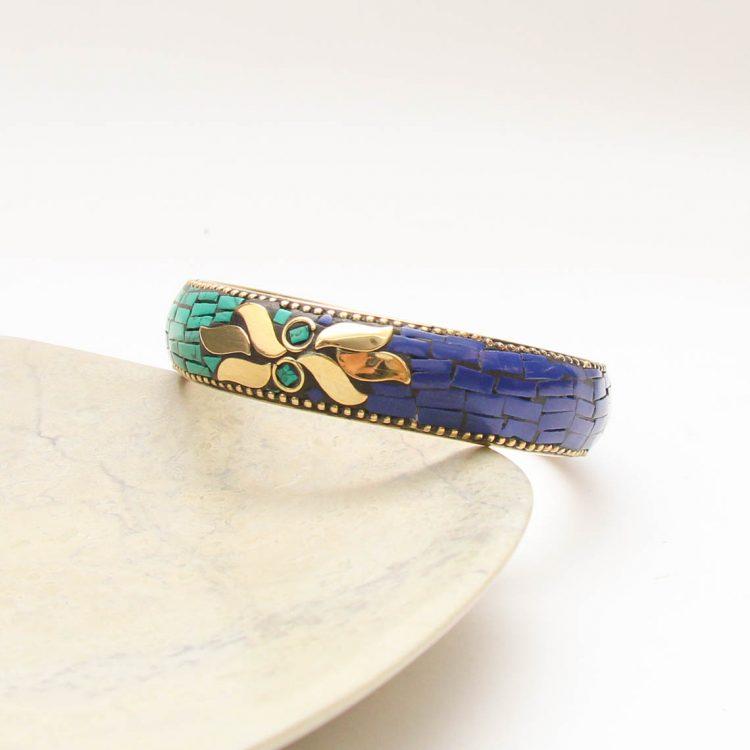 Green and blue mosaic bangle | TradeAid