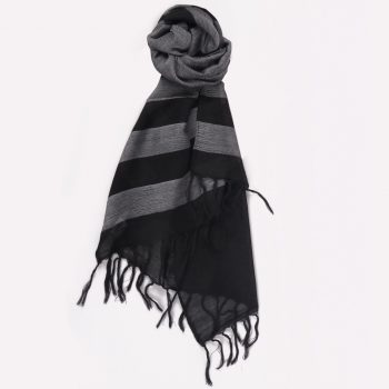 Grey wool scarf with black stripe | TradeAid