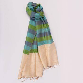 Gem tone striped silk and wool scarf | TradeAid