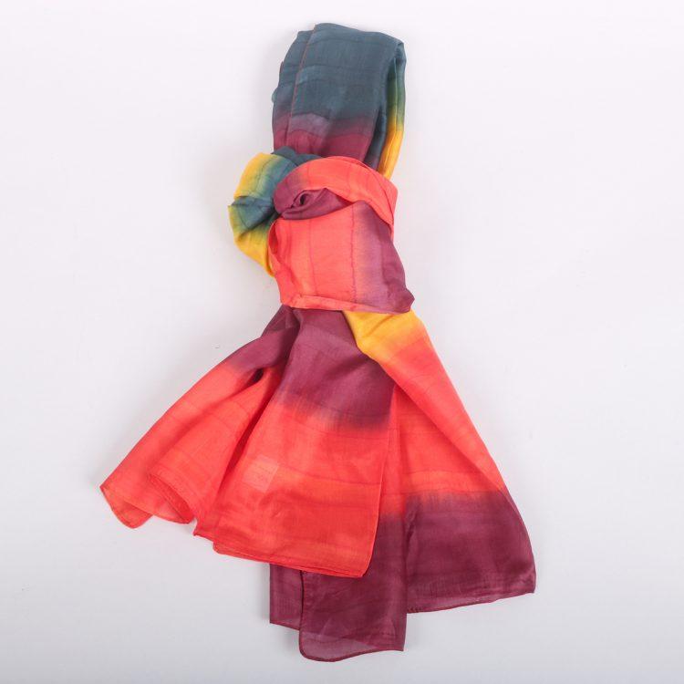 Rainbow striped silk scarf | TradeAid