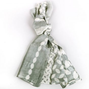 Grey and white silk scarf | TradeAid