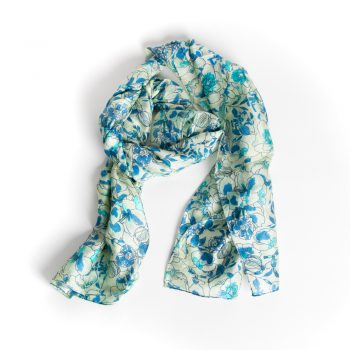 Green and blue floral silk scarf | TradeAid