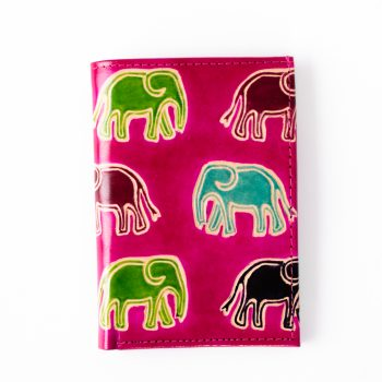 Pink card holder with elephants | TradeAid