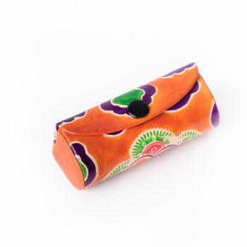 Tangerine leather lipstick case   TradeAid