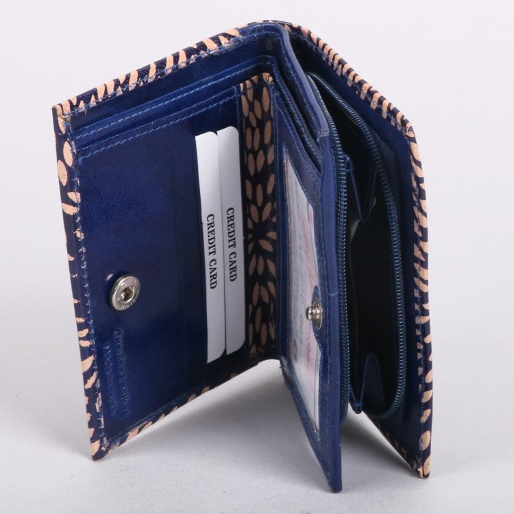Blue and cream leather wallet | Gallery 1 | TradeAid