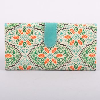 Green and orange shanti leather wallet | Gallery 1 | TradeAid