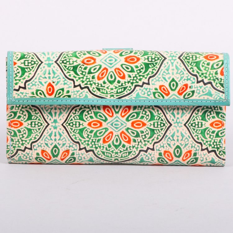 Green and orange shanti leather wallet | TradeAid