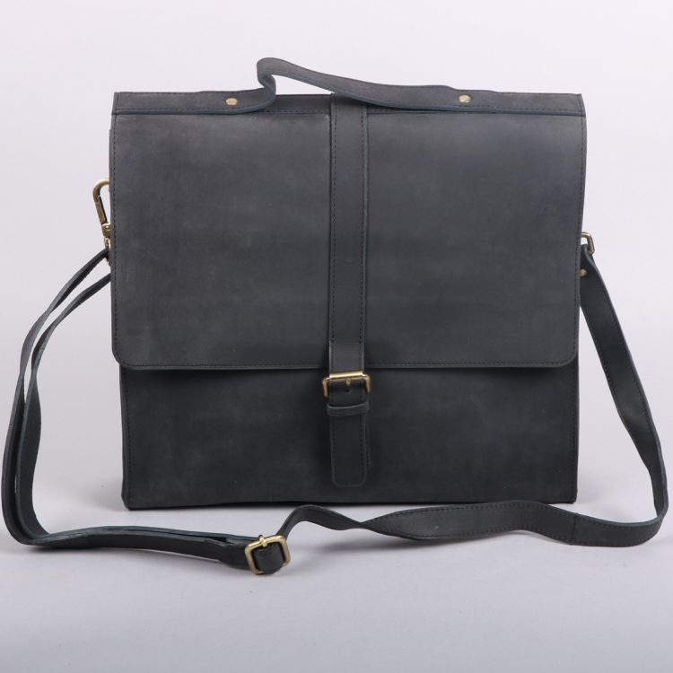 Black leather satchel | TradeAid