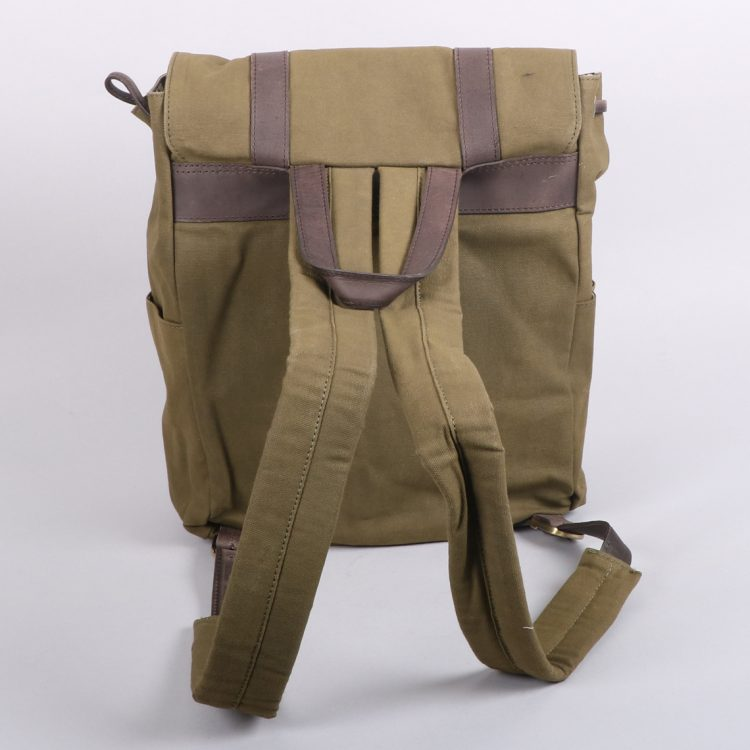 Olive green canvas backpack | Gallery 1 | TradeAid