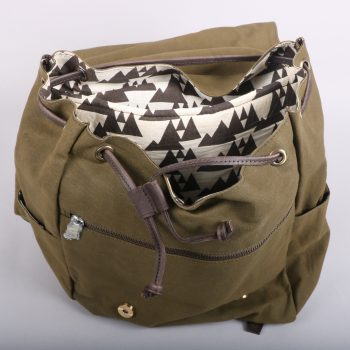 Olive green canvas backpack | Gallery 2 | TradeAid