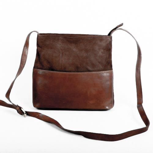 Brown suede and leather day bag   TradeAid