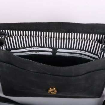 Black leather purse bag with suede trim | Gallery 1 | TradeAid