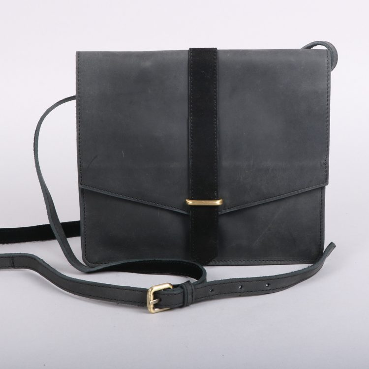 Black leather purse bag with suede trim | TradeAid