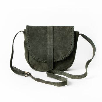 Green Suede Saddle Bag