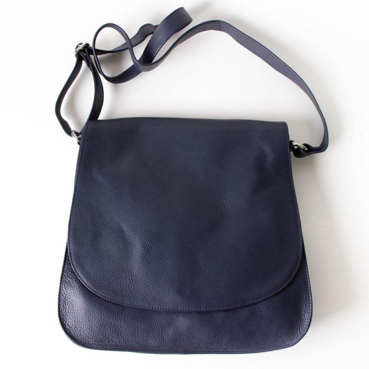 Blue leather shoulder bag | TradeAid