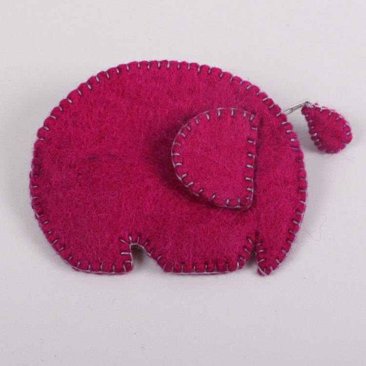 Pink felt elephant purse | TradeAid