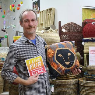 """""""I watch enough depressing documentaries about the state of the world and maybe this is like a detox for all that. I feel like, 'yeah, I'm doing my little bit. It's like church for me as an atheist."""" - Bryce on volunteering with us every week for 10 years! #LiveFair #OneProductAtATime #FairTradeDay"""