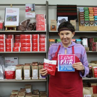 """""""I buy fair trade coffee as coffee is a luxury item and fair trade means the workers/ producers get a good deal."""" – Helena #LiveFair #OneProductAtATime #FairTradeDay"""