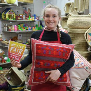 """""""I really love the idea of a store that only sells products from ethical sources, and provides the producers with the equality and fairness that they deserve. I think that all shops should be more like Trade Aid. Its amazing the talent and creativity that goes into the creation of these pillows from India, and its even more amazing that they are treated with respect."""" - Lindsey"""