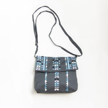 Charcoal embroidered shoulder bag | TradeAid