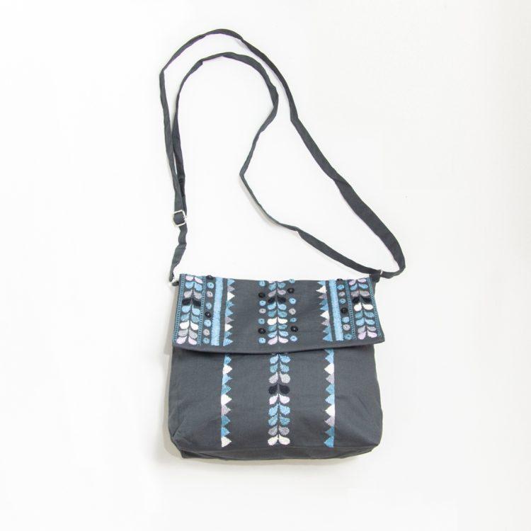 Charcoal embroidered shoulder bag | TradeAid