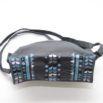 Charcoal cotton embroidered shoulder bag | Gallery 1 | TradeAid