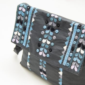Charcoal cotton embroidered shoulder bag | Gallery 2 | TradeAid