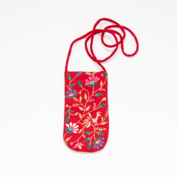 Embroidered red floral glasses holder | TradeAid