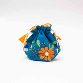 Blue jewellery pouch with floral embroidery | TradeAid
