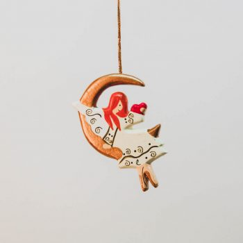 Wooden angel in moon decoration | TradeAid