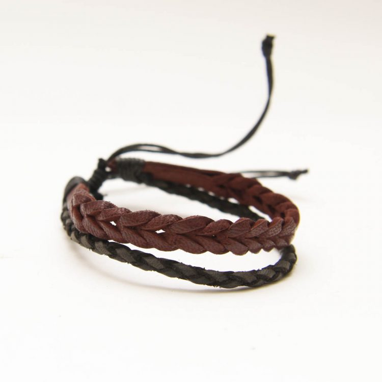 Black and brown leather bracelet | TradeAid