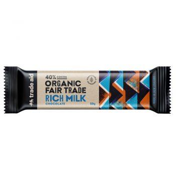 Organic 40% rich milk chocolate – 50g | TradeAid