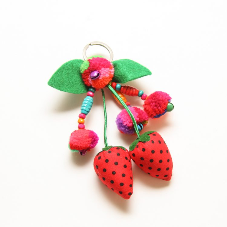 Strawberry pompom keyring | TradeAid