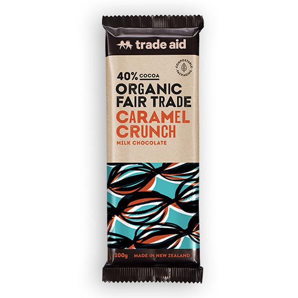 Organic 40% caramel crunch milk chocolate – 100g | TradeAid