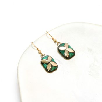 Green and gold mosaic earrings | TradeAid