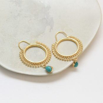 Hoop earrings with turquoise bead | TradeAid