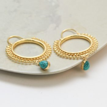 Hoop earrings with turquoise bead | Gallery 1 | TradeAid
