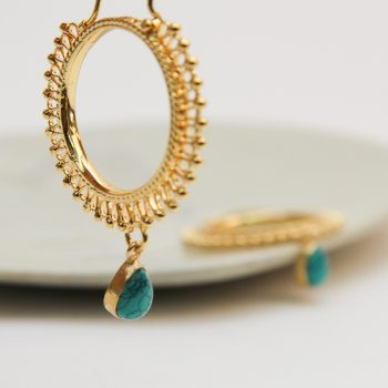Hoop earrings with turquoise bead | Gallery 2 | TradeAid