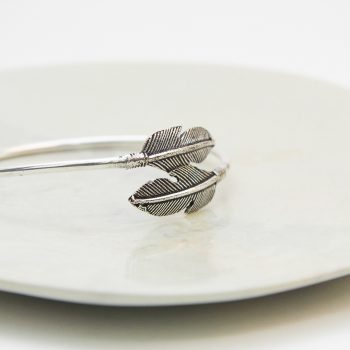 Silver colour bangle with leaf ends | Gallery 1 | TradeAid