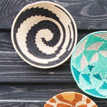 Black swirl woven bowl | TradeAid