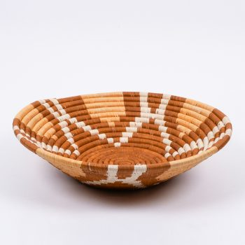 Woven bowl with tan flower design | TradeAid