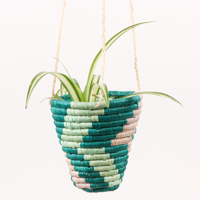 Teal hanging basket   TradeAid