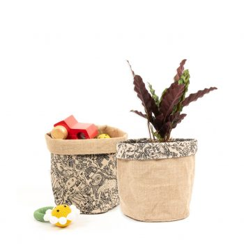 Reversible jute basket with animal print design | Gallery 1 | TradeAid