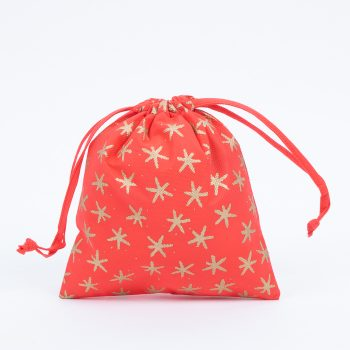 Large red star print gift bag | TradeAid
