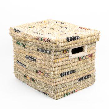 Kaisa and recycled fabric rectangular basket | TradeAid