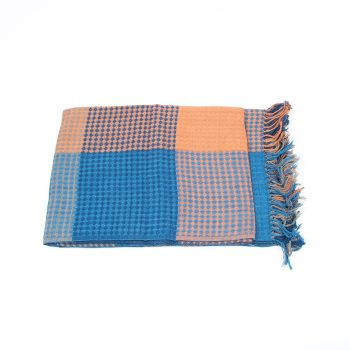 Indigo and spice organic cotton waffle weave throw | Gallery 1 | TradeAid