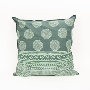 European pillowcase with green octagonal motif | TradeAid