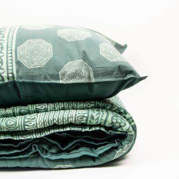 European pillowcase with green octagonal motif   Gallery 2   TradeAid