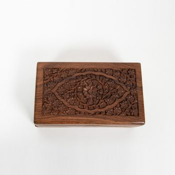 Sheesham wood box with carved lid and central flower | TradeAid