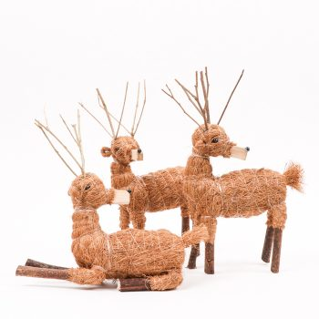 Set of three coco fibre reindeer   TradeAid
